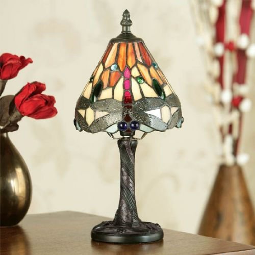 Dragonfly Flame Mini Lamp (Arts & Crafts, Traditional, Mini Lamps) TMIN11 (Tiffany style)